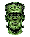 Färgillustration av det Frankenstein huvudet Royaltyfria Foton