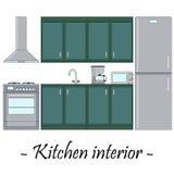 Färgillustration av en kökinre royaltyfri illustrationer