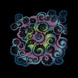 Färgillustration av en psykedelisk blomma Den bra idén för garnering av något Stock Illustrationer