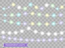 Färgjulljus Dekorativa isolerade band för festligt parti för nytt år Glödande girland för jul också vektor för coreldrawillustrat stock illustrationer
