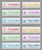 6 färgknappar för att shoppa sidan royaltyfri illustrationer
