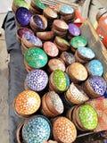 Färgkokosnöt Shell Bowls Fotografering för Bildbyråer
