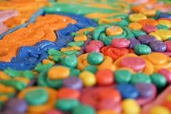Färgkonst med färgplastellina Royaltyfri Fotografi