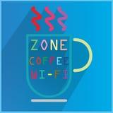 Färgkopp kaffe och WiFi Royaltyfri Fotografi