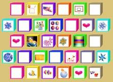 Färgkuber med fönster stock illustrationer