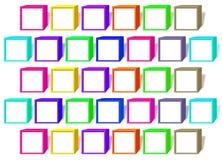 Färgkuber med vita fönster stock illustrationer
