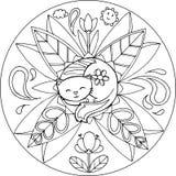 Färgläggning Cat Mandala Fotografering för Bildbyråer