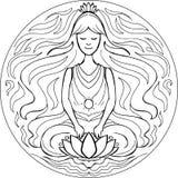 Färgläggning Lotus poserar mandalaen Arkivfoto
