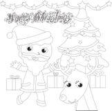 Färgläggning Santa Claus med trädet och renen royaltyfri illustrationer