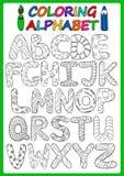 Färgläggningbarnalfabet med tecknad filmversalar Royaltyfri Foto