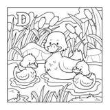 Färgläggningbok (anden), akromatisk illustration (bokstav D) Royaltyfri Fotografi