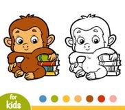 Färgläggningbok, apa och böcker vektor illustrationer