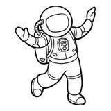 Färgläggningbok, astronaut vektor illustrationer