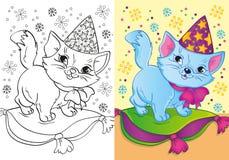 Färgläggningbok av Cat In Christmas Cap Royaltyfri Foto