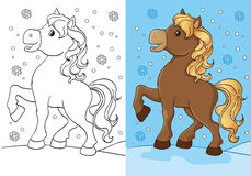 Färgläggningbok av den gulliga hästen med guld- man Royaltyfri Fotografi