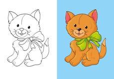 Färgläggningbok av gulliga röda Kitten With Bow Royaltyfria Bilder