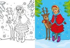 Färgläggningbok av Santa Girl Stands With Deer vektor illustrationer