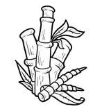 Färgläggningbok, bambu royaltyfri illustrationer