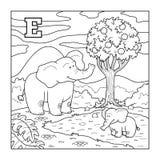 Färgläggningbok (elefanten), akromatiskt alfabet för barn: lette Royaltyfria Bilder
