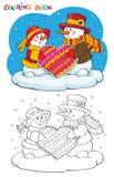 Färgläggningbok eller sida Två snögubbear med hjärta royaltyfri illustrationer