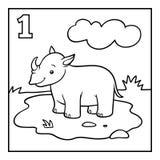Färgläggningbok, en noshörning royaltyfri illustrationer