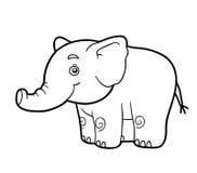 Färgläggningbok, färgläggningsida (elefanten) royaltyfri illustrationer