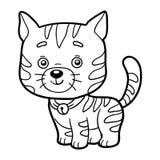 Färgläggningbok, färgläggningsida (katten) Arkivbilder