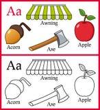 Färgläggningbok för barn - alfabet A Royaltyfria Foton