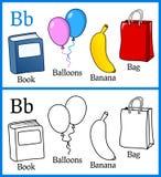 Färgläggningbok för barn - alfabet B Fotografering för Bildbyråer
