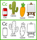 Färgläggningbok för barn - alfabet C Arkivbild