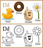 Färgläggningbok för barn - alfabet D Arkivbilder