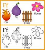 Färgläggningbok för barn - alfabet F Royaltyfria Foton