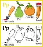 Färgläggningbok för barn - alfabet P royaltyfri illustrationer