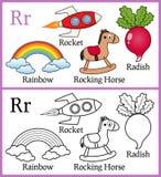 Färgläggningbok för barn - alfabet R Royaltyfri Foto