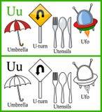 Färgläggningbok för barn - alfabet U Arkivfoton