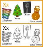 Färgläggningbok för barn - alfabet X Arkivfoton