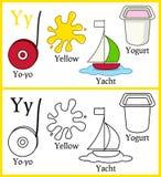 Färgläggningbok för barn - alfabet Y Arkivbild