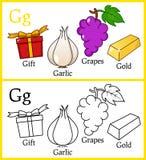 Färgläggningbok för barn - alfabetG Royaltyfri Fotografi