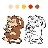 Färgläggningbok för barn: apa Royaltyfri Foto