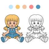 Färgläggningbok för barn (dockan) Royaltyfri Foto