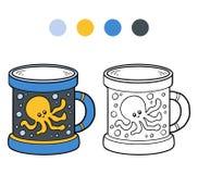 Färgläggningbok för barn En kopp med bläckfisken stock illustrationer