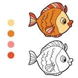 Färgläggningbok för barn (fisken) Royaltyfria Bilder