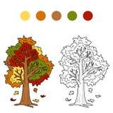 Färgläggningbok för barn (höstträdet) Arkivbild