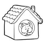 Färgläggningbok för barn: hamster och hus Arkivbilder