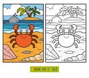 Färgläggningbok för barn (krabban och bakgrund) Arkivbilder