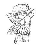 Färgläggningbok för barn: liten fe Arkivfoto
