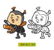 Färgläggningbok för barn, liten myra royaltyfri illustrationer