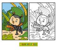 Färgläggningbok för barn Liten myra på ängen vektor illustrationer