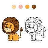 Färgläggningbok för barn, litet lejon royaltyfri illustrationer