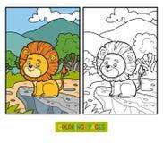 Färgläggningbok för barn Litet lejon i Afrika vektor illustrationer